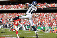 Seattle Seahawks wide receiver D.J. Hackett catches an 8 yard pass in the end zone for a touchdown in the first quarter at Arrowhead Stadium in Kansas City, Missouri on October 29, 2006. The Chiefs won 35-28.
