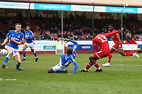 Ricardo German of Crawley Town scores the first goal for his team during Crawley Town vs Oldham Athletic, Sky Bet EFL League 2 Football at Broadfield Stadium on 7th March 2020
