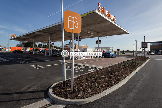 Petrol station, new Sainsbury's superstore, Thanet, Kent UK