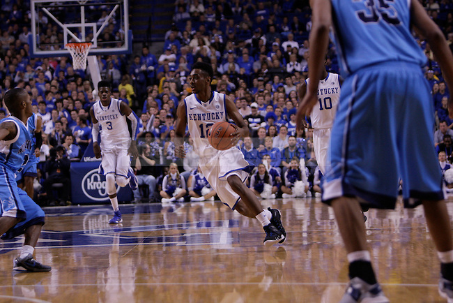 Sophomore Guard Ryan Harrow runs the ball up the court during the first half of the University of Kentucky vs. Northwood Basketball exhibition game at Rupp Arean in Lexington, Ky., on, {November} {1}, {2012}. Photo by Jared Glover | Staff