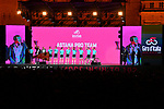 Astana Pro Team on stage at the Teams Presentation held in Piazza Maggiore Bologna before the start of the 2019 Giro d'Italia, Bologna, Italy. 9th May 2019.<br /> Picture: Massimo Paolone/LaPresse | Cyclefile<br /> <br /> All photos usage must carry mandatory copyright credit (&copy; Cyclefile | Massimo Paolone/LaPresse)