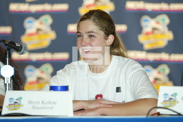 18 December 2004: Stanford Cardinal Bryn Kehoe addresses the media during Stanford's  30-23, 30-27, 30-21 victory over Minnesota in the 2004 NCAA Women's Volleyball National Championships in Long Beach, CA. Stanford won their sixth women's volleyball title in school history.<br />