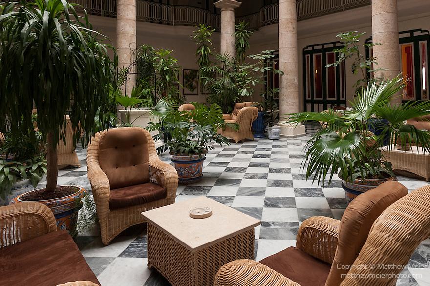 Havana, Cuba; the colonial style lobby of the Hotel Florida
