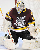 The puck sails by Chicago Wolves goaltender Matt Climie for a Rampage goal during the second period of an AHL playoff hockey game against the San Antonio Rampage, Saturday, April 21, 2012, in San Antonio. (Darren Abate/pressphotointl.com)