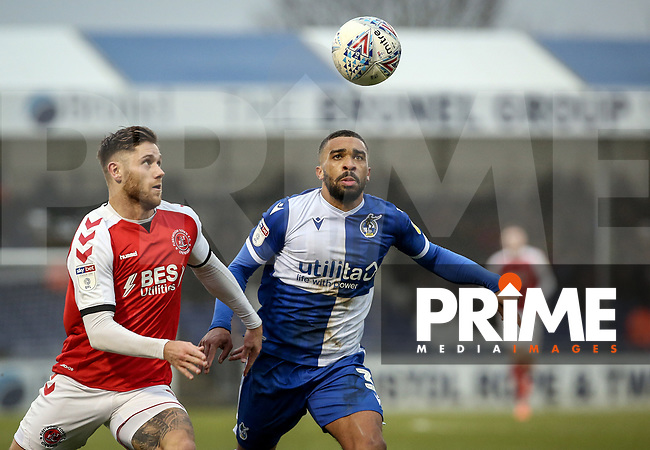 Wes Burns of Fleetwood Town and Tareiq Holmes-Dennis of Bristol Rovers during the Sky Bet League 1 match between Bristol Rovers and Fleetwood Town at the Memorial Stadium, Bristol, England on 25 January 2020. Photo by Dave Peters / PRiME Media Images.