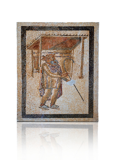 A Tragic Actor of the Roman theatre. 2nd - 3rd century Roman Mosaic from the Alcazar of Cordoba, Spain