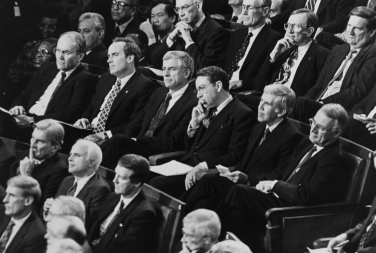 GOP Senators during State of Union address on Feb. 17, 1993. (Photo by Maureen Keating/CQ Roll Call via Getty Images)