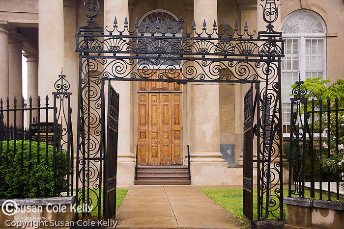 Beautiful ironwork gate at St. Philip's Episcopal Church (146 Church St), in downtown Charleston, SC, a National Historic Landmark district.