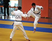 CALI – COLOMBIA – 29-07-2013: Equipo de Colombia en Ju Jitsu, Duo Masculino durante los IX Juegos Mundiales Cali, julio 29 de 2013. (Foto: VizzorImage / Luis Ramirez / Staff). Colombia team in Ju Jitsu, Male Duo in the IX World Games Cali, July 29, 2013. (Photo: VizzorImage / Luis Ramirez / Staff).