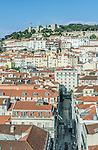 Portugal, Lisbon, Baixa Rooftops and Sao Jorge Castle from Santa Justa Lift (Elevador Santa Justa)