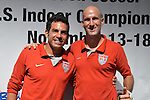 HOLLYWOOD, FL - SEPTEMBER 18:  U.S. team player Oscar Gil and U.S. team Captain Francis Farberoff attends Beach Soccer U.S. Indoor Championships Press Conference at Paradise Live! at Seminole Hard Rock Hotel & Casino on September 18, 2012 in Hollywood, Florida.  to announce six teams from Brazil, Colombia, Mexico, Spain, Venezuela and the United States will compete in the Beach Soccer U.S. Indoor Championships from November 13th -17th at the Hard Rock Live! in the Seminole Hard Rock Hotel & Casino.(Photo by Johnny Louis/jlnphotography.com)
