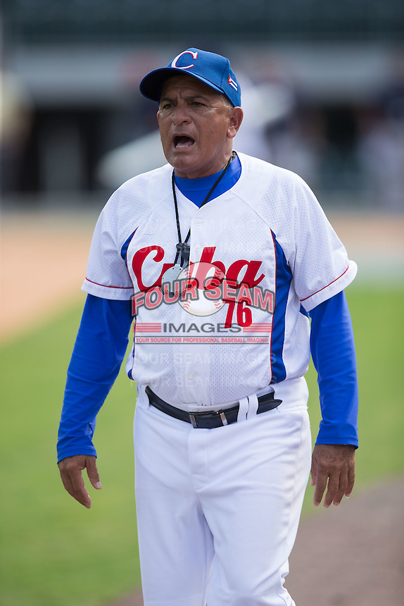 Cuban National Team assistant coach Victor Figueroa Figueroa (76) prior to the game against the US Collegiate National Team at BB&T BallPark on July 4, 2015 in Charlotte, North Carolina.  The United State Collegiate National Team defeated the Cuban National Team 11-1.  (Brian Westerholt/Four Seam Images)