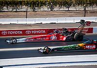 Feb 11, 2019; Pomona, CA, USA; NHRA top fuel driver Doug Kalitta during the Winternationals at Auto Club Raceway at Pomona. Mandatory Credit: Mark J. Rebilas-USA TODAY Sports