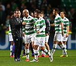 Brendan Rogers celebrates with Scott Brown of Celtic during the Champions League Group C match at the Celtic Park Stadium, Glasgow. Picture date: September 28th, 2016. Pic Simon Bellis/Sportimage
