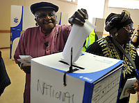 "Archbishop Desmond Tutu and his wife Leah cast their votes in the 2009 general election at a polling station in Milnerton. Tutu said he was only voting after ""a lot of heart-searching"" having previously stated that he would not cast his ballot."