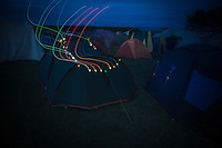 Many of the staffs personal tents have suncell powerd multi-colored lamps to identify the tents in the night.