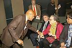 Harry Belafonte greets Marian Wright Edelman at the John Jay Justice Award ceremony, April 5 2011.