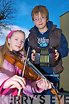 Aoife and Fiachra King, Banna, pictured getting in tune ahead of the Gathering Festival in The Gleneagle on Saturday.........
