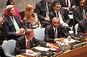 United States President Barack Obama listens to the remarks of United Nations Secretary-General Ban Ki-moon as he chairs the U.N. Security Council summit cracking down on foreign terrorist fighters at the U.N. 69th General Assembly in New York, New York on Wednesday, September 24, 2014.  Visible in the photo are also U.S. Secretary of State John F. Kerry and U.S. Ambassador to the U.N. Samantha Power.<br /> Credit: Allan Tannenbaum / Pool via CNP