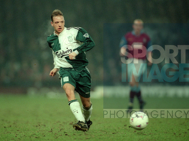 Rob Jones of Liverpool - Barclays Premier League - Aston Villa v Liverpool - Villa Park Stadium - Birmingham - England - 31st  January 1996 - Picture Simon Bellis/Sportimage