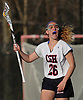 Caroline Walter #26 of Cold Spring Harbor calls out to her teammates during a Nassau County varsity girls lacrosse game against Long Beach at Cold Spring Harbor High School on Wednesday, April 18, 2018. Cold Spring Harbor won by a score of 13-2.