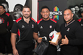 Under 16 Player of the Year, Tevita Kofeloa from Manurewa High School with Sean Bagshaw and Sean Paranihi. Counties Manukau Rugby Unions Junior Prize giving held at ECOLight Stadium Pukekohe on Wednesday October12th, 2016.<br /> Photo by Richard Spranger.