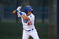AZL Dodgers Lasorda Julio Carrion (49) at bat during an Arizona League game against the AZL Athletics Green at Camelback Ranch on June 19, 2019 in Glendale, Arizona. AZL Dodgers Lasorda defeated AZL Athletics Green 9-5. (Zachary Lucy/Four Seam Images)