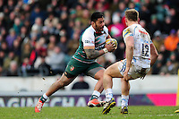 Manu Tuilagi of Leicester Tigers goes on the attack. Aviva Premiership match, between Leicester Tigers and Exeter Chiefs on March 6, 2016 at Welford Road in Leicester, England. Photo by: Patrick Khachfe / JMP