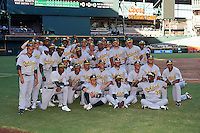Oakland Athletics Instructional League team poses for a photo after a game against the Arizona Diamondbacks on October 15, 2016 at Chase Field in Phoenix, Arizona.  Photo includes George Bell, Yerdel Vargas, Lazaro Armenteros, Christopher Quintin, Marcos Brito, Kevin Richards, Eli White, Eric Marinez, Richie Martin, Roger Gonzalez, Nate Mondou, Christopher Quintin, Chris Iriart, Miguel Mercedes, Robert Benie, Kyle Nowlin, JaVon Shelby, Josh Vidales, Skyler Weber, Tyler Ramirez, Skye Bolt, Anthony Churlin, Jarrett Costa, Luke Persico, Sean Murphy, Nolan Blackwood, Dustin Driver, James Terrell, Collin Theroux, Tyler Willman, Nick Highberger, Dustin Hurlbutt, and others.  (Mike Janes/Four Seam Images)