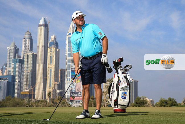 Graeme McDowell (NIR) on the 13th fairway during the Pro-Am at the 2016 Omega Dubai Desert Classic, played on the Emirates Golf Club, Dubai, United Arab Emirates.  03/02/2016. Picture: Golffile | David Lloyd<br /> <br /> All photos usage must carry mandatory copyright credit (&copy; Golffile | David Lloyd)