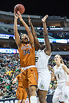 point guard Sune Agbuke (22)  and center Imani McGee-Stafford (34) in action during Big 12 women's basketball championship final, Sunday, March 08, 2015 in Dallas, Tex. (Dan Wozniak/TFV Media via AP Images)
