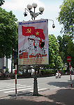 Hanoi, Vietnam, Socialist government propaganda posters line the streets. photo taken July 2008.
