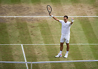 Roger Federer (3) of Switzerland celebrates his victory against Marin Cilic (7) of Croatia in their Gentlemen's Singles Final - Federer def Cilic 6-3, 6-1, 6-4<br /> <br /> Photographer Ashley Western/CameraSport<br /> <br /> Wimbledon Lawn Tennis Championships - Day 13 - Sunday 16th July 2017 -  All England Lawn Tennis and Croquet Club - Wimbledon - London - England<br /> <br /> World Copyright &not;&uml;&not;&copy; 2017 CameraSport. All rights reserved. 43 Linden Ave. Countesthorpe. Leicester. England. LE8 5PG - Tel: +44 (0) 116 277 4147 - admin@camerasport.com - www.camerasport.com