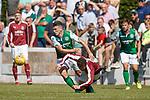 30.06.18 Linlithgow Rose v Hibs: John McGinn muscles his way through the Rose midfield