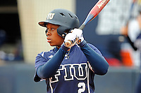 11 February 2012:  FIU's Ashley McClain (2) bats as the University of Massachusetts Minutewomen defeated the FIU Golden Panthers, 3-1, as part of the COMBAT Classic Tournament at the FIU Softball Complex in Miami, Florida.