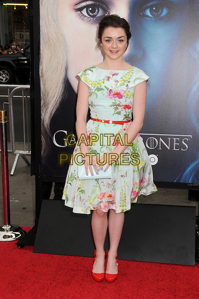 "Maisie Williams.""Game Of Thrones"" 3rd Season Los Angeles Premiere held at the TCL Chinese Theatre, Hollywood, California, USA..March 18th, 2013.full length dress white floral print pink yellow green red belt shoes clutch bag .CAP/ADM/BP.©Byron Purvis/AdMedia/Capital Pictures."