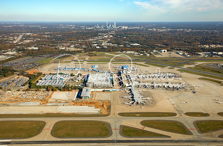 Aerial Photography of the Charlotte Douglas International Airport in Charlotte, North Carolina.<br /> <br /> Charlotte Photographer -PatrickSchneiderPhoto.com