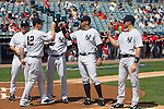 Chase Headley, Alex Rodriguez (Yankees),<br /> MARCH 4, 2015 - MLB : Alex Rodriguez (the second from the right) of the New York Yankees high fives Chase Headley (12), manager Joe Girardi, Didi Gregorius and Mark Teixeira during the first game ceremony bofore a spring trainig baseball game against the Philadelphia Phillies at George M. Steinbrenner Field in Tampa, Florida, United States. (Photo by Thomas Anderson/AFLO) (JAPANESE NEWSPAPER OUT)
