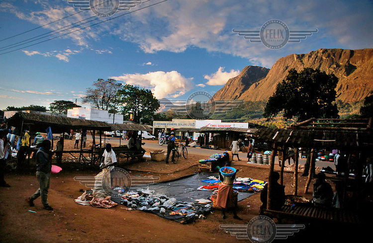 A market in a village at the foot of Mount Mulanje, a monadnock in southern Malawi.
