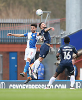 Blackburn Rovers' Derrick Williams takes a high challenge with Southend United's Stephen McLaughlin<br /> <br /> Photographer Rachel Holborn/CameraSport<br /> <br /> The EFL Sky Bet League One - Blackburn Rovers v Southend United - Saturday 7th April 2018 - Ewood Park - Blackburn<br /> <br /> World Copyright &copy; 2018 CameraSport. All rights reserved. 43 Linden Ave. Countesthorpe. Leicester. England. LE8 5PG - Tel: +44 (0) 116 277 4147 - admin@camerasport.com - www.camerasport.com