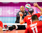 Lima, Peru -  25/August/2019 -   Jamoi Anderson (#12) in action as Canada takes on Costa Rica in men's sitting volleyball at the Parapan Am Games in Lima, Peru. Photo: Dave Holland/Canadian Paralympic Committee.