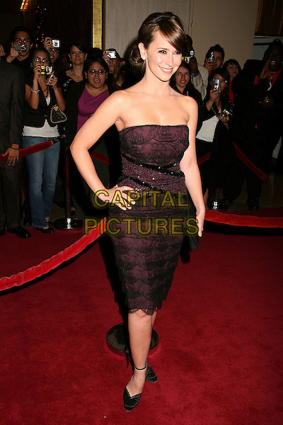 JENNIFER LOVE HEWITT.The 8th Annual Family Television Awards at the Beverly Hilton Hotel, Beverly Hills, California, USA..November 29th, 2006.full length strapless purple black lace dress clutch purse hand on hip.CAP/ADM/BP.©Byron Purvis/AdMedia/Capital Pictures