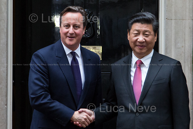 London, 21/10/2015. The President of the People's Republic of China (General secretary of the Communist Party of China, and chairman of the Central Military Commission), Xi Jinping, meets the British Prime Minister David Cameron at 10 Downing Street during the second day of a four-day State visit to the UK.