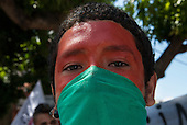 Belem, Para State, Brazil. Demonstration against the construction of hydroelectric dams.