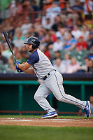 Brooklyn Cyclones designated hitter Chase Chambers (5) follows through on a swing during a game against the Tri-City ValleyCats on August 21, 2018 at Joseph L. Bruno Stadium in Troy, New York.  Tri-City defeated Brooklyn 5-2.  (Mike Janes/Four Seam Images)