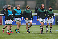 Ealing Trailfinders players prepare ahead of the Championship Cup match between Ealing Trailfinders and Richmond at Castle Bar , West Ealing , England  on 15 December 2018. Photo by David Horn.