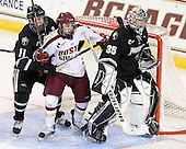 Tim Schaller (Providence - 11), Johnny Gaudreau (BC - 13), Alex Beaudry (PC - 35) - The Boston College Eagles defeated the visiting Providence College Friars 4-1 (EN) on Tuesday, December 6, 2011, at Kelley Rink in Conte Forum in Chestnut Hill, Massachusetts.