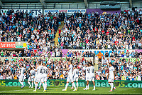 Swansea Players celebrate with fans after final whistle of the Premier League match between Swansea City and West Bromwich Albion at The Liberty Stadium, Swansea, Wales, UK. Sunday 21 May 2017 (Photo by Athena Pictures/Getty Images)