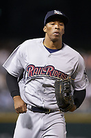 Scranton/Wilkes-Barre RailRiders center fielder Rashad Crawford (22) jogs off the field between innings of the game against the Charlotte Knights at BB&T BallPark on April 12, 2018 in Charlotte, North Carolina.  The RailRiders defeated the Knights 11-1.  (Brian Westerholt/Four Seam Images)