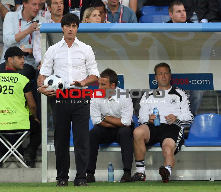 UEFA Euro 2008 Semi-Finals Match 29 Basel - St. Jakob-Park. Deutschland ( GER ) - T&uuml;rkei ( TUR ) 3:2 ( 1:1 ). <br /> Joachim Loew (L&ouml;w) - ( Germany / Trainer / Coach ), Hans-Dieter Flick ( Germany / Co-Trainer / Coach ) und Torwarttrainer Andreas K&ouml;pke (l-r) an der Seitenlinie.<br /> Foto &copy; nph (  nordphoto  )